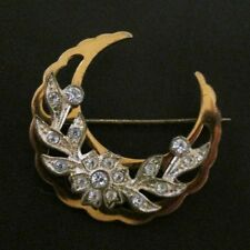 Original Vintage 30s Crescent Moon Flower Garland Gold Tone Paste Brooch Pin