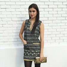 Rachel Zoe Pearl and Gold Stud Embellished Tweed Knit Dress $530