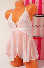 NWT VICTORIA'S SECRET Lingerie VS Flyaway Tulle Lace Babydoll S Iridescent White