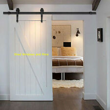 6 FT Black Steel Sliding Barn Door Rolling Wooden Barn Door Hardware Set Decorat