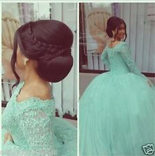 Modest Long Sleeve Lace Mint Quinceanera Dresses Formal Prom Ball Wedding Gowns