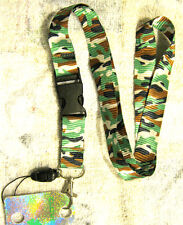 "Green Black Camo Camoflauge 15"" Lanyard/Landyard ID Holder Keychain-New!!!"