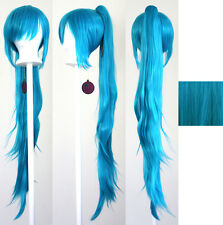 40'' Wavy Pony Tail + Base Peacock Blue Cosplay Wig NEW