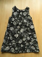 Zara GIRLS 11-12 yearsblack/Grigio Fiori in Velluto a Coste Abito/Tunica Top