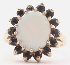 Vintage 9ct Yellow Gold Large Natural Opal and Sapphires Cluster Ring Size K 1/2