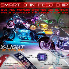 12x Motorcycle LED Lights Wireless Remote Multi Color Neon Glow Light Strips Kit