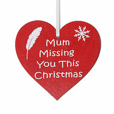 Mum Missing you this Christmas red heart memorial Christmas tree decoration