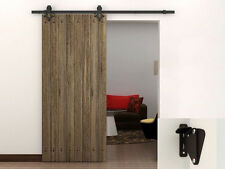 6FT Dark Coffee Country Barn Wood Sliding Door Hardware Track Closet Set w/Latch