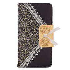 Black Lace PU Wallet Case Cover For Alcatel One Touch Pop Icon A564C Phone