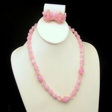 WEST GERMANY Pink Twisted Acrylic Beads Necklace Earrings Set Vintage Pretty
