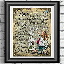Original Art Print Diccionario Antiguo Libro página Alice In Wonderland upcycled