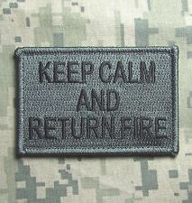 KEEP CALM AND RETURN FIRE TACTICAL COMBAT USA ARMY ACU DARK HOOK MORALE PATCH