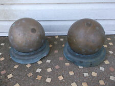 Scarce Pair Heavy Brass Paint Vat Mixing Ball Set With Holder From CO-OP Factory