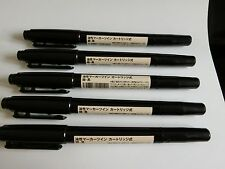 MUJI Japan Oil Ink Marker Pen Twin Thin Black color 5 pcs stationery