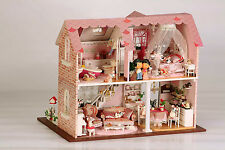 DIY Wooden Dollshouse Miniature Kit w/Lights & Music - Pink House