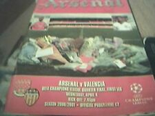 football programme arsenal v valencia 2001