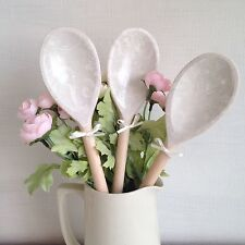 Laura Ashley Josette Dove Grey Set Of 3 Decorative Wooden Spoons Shabby Chic