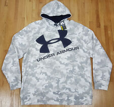 UNDER ARMOUR BIG LOGO FLEECE HOODIE COLDGEAR WHITE CAMO 1260283-101 (SIZE 4XL)