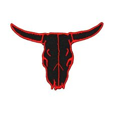 Cattle Skull Red & Black Patch Western Bull Animal Cow Ranch Iron-On Applique