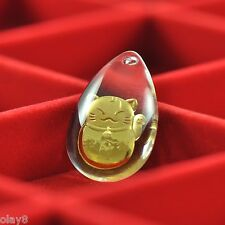 New 999 24K Yellow Gold Pendant Man-made Crystal Fortune Cat  Pendant J.Olay