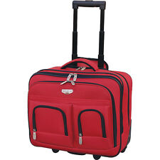 "Travelers Club Luggage 17"" 2-Section Rolling Briefcase Wheeled Business Case NEW"
