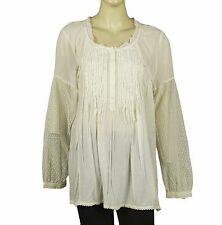 3246 New $128 Free People Lace Pin Tuck Ivory Cotton Blouse Tunic Top XS