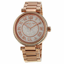 BRAND NEW MICHAEL KORS MK5868 SKYLAR ROSE GOLD PAVE GLITZ DIAL WOMEN'S WATCH