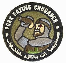 PORK EATING CRUSADER INFIDEL USA ARMY MORALE TACTICAL FOREST PATCH W/FASTENER