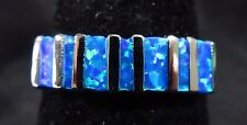 Silver 925 Filled Size 9 Ring Baguette Cut Pacific Ocean Blue Lab Fire Opal