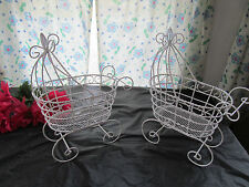 Set of 2 Wire Baby Carriages  - For Baby Shower Decorations