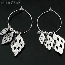 UK NEW SILVER LEAF EARRINGS URBAN FASHION RETRO KITSCH GOTH PUNK BOHO QUIRKY EMO
