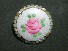 Vintage Round Enamel Guilloche Rhinestone Brooch Pin Gold Tone Floral Rose