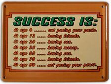 SUCCESS IS Small Vintage Metal Tin Pub Sign
