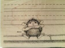 "NEW! STAMPENDOUS House Mouse ""Chalk It Up"" Wood Mounted Rubber Stamp"