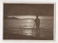PHOTO ANCIENNE Snapshot Plage Contre jour Ciel Bord de mer Curiosité Vers 1930