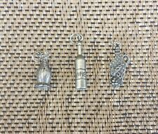 Open that Bottle And Smell The WINE 3 PEWTER WINE BOTTLE CHARMS ALL NEW.