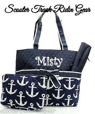 DIAPER BAG personalized baby tote Navy Blue white  Anchor nautical monogram NEW