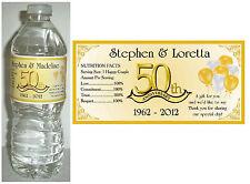 20 GOLDEN 50TH ANNIVERSARY WATER BOTTLE LABELS ~ Glossy ~ Waterproof
