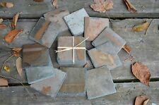 Reclaimed Antique Slate Coasters Square Stone Wedding Table Escort Card Favor