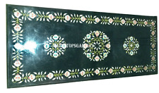 2.5'X6' Green Marble Dining Table Top Semi Inlay Hallway  Deco H933