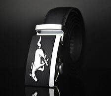 Belt Men's Genuine Leather Cowskin Black Car Mustang Automatic Buckle New