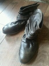 BULLBOXER 00610116 Brown Leather Buckle Rouched Ankle Boots Booties EUC 7.5M