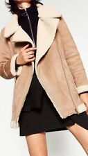Zara AW16 Oversized Suede  Aviator Biker With Fur Size S Uk 8/10 Genuine Zara