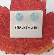 Aquamarine Oval Stud Earrings on .925 Sterling Silver