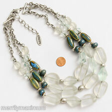 Chico's Signed Necklace Long Silver Tone Triple Chains Chunky Ceramic & Frosted