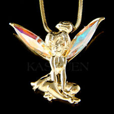 w Swarovski Crystal AB fairy Tinkerbell Tinker Bell Gold Tone ANGEL Necklace