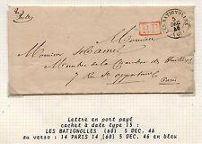 LETTRE  CACHET A DATE 15 /PORT PAYE / LES BATIGNOLLES POUR PARIS 1846