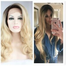 Top Lace Frontal Hair Heat Resistant Wig Curly Ombre Blond Cosplay Synthetic Wig
