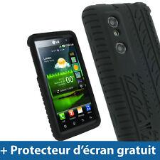 Noir Pneu Étui Housse Case Silicone pour LG Optimus 3D P920 Android Smartphone