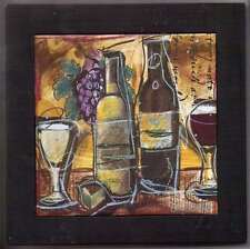 "WINE THEMED 8"" SQUARE WOOD AND CERAMIC TILE TRIVET WALL PLAQUE"